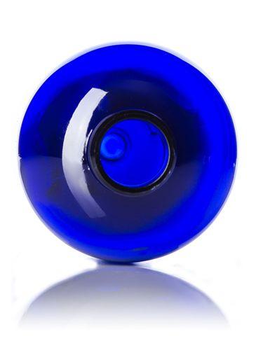 12 oz cobalt blue PET plastic boston round bottle with 24-410 neck finish