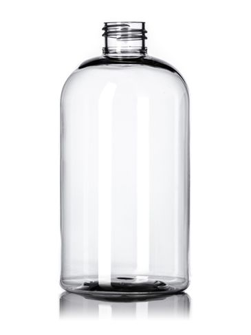 12 oz clear PET plastic squat boston round bottle with 24-410 neck finish