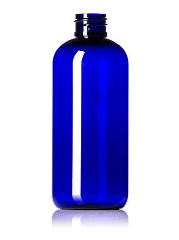 12 oz cobalt blue PET plastic boston round bottle with 28-410 neck finish