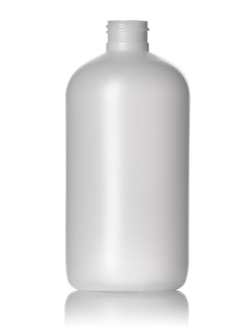 12 oz natural-colored HDPE plastic boston round bottle with 24-410 neck finish