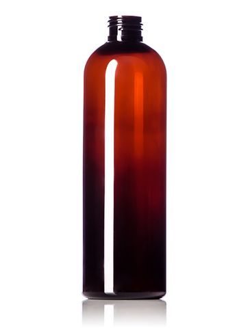 12 oz amber PET plastic cosmo round bottle with 24-410 neck finish