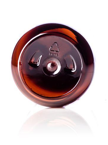 8 oz amber PET plastic modern round bottle with 24-410 neck finish