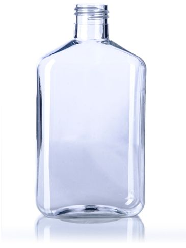 250 mL clear PET plastic metric oblong bottle with 24-410 neck finish