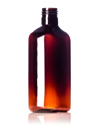 250 mL amber PET plastic metric oblong bottle with 24-410 neck finish