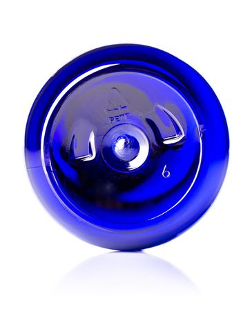 8 oz cobalt blue PET plastic modern round bottle with 24-410 neck finish