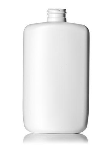 8 oz white HDPE plastic flat oval bottle with 24-410 neck finish