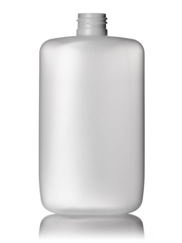 8 oz natural-colored HDPE plastic flat oval bottle with 24-410 neck finish