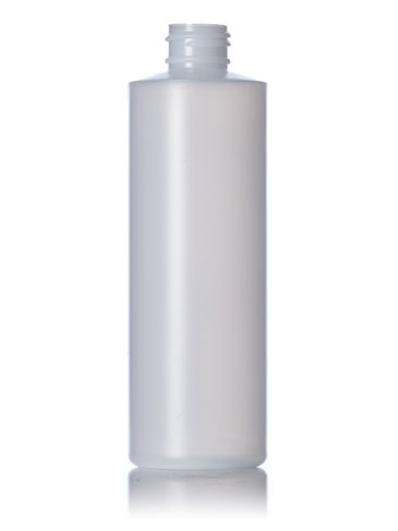 8 oz natural-colored HDPE plastic cylinder round bottle with 24-410 neck finish
