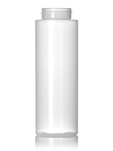 8 oz natural-colored LDPE plastic cylinder round bottle with 38-400 neck finish