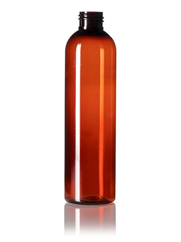8 oz amber PET plastic cosmo round bottle with 24-410 neck finish