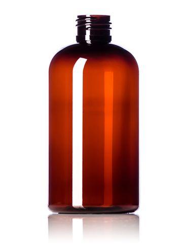 8 oz light amber PET plastic squat boston round bottle with 24-410 neck finish