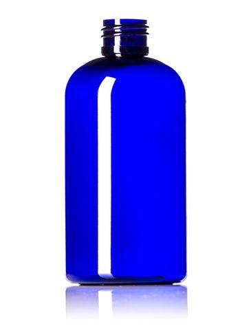8 oz cobalt blue PET plastic squat boston round bottle with 24-410 neck finish
