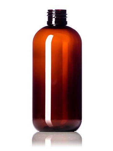 8 oz amber PET plastic boston round bottle with 24-410 neck finish