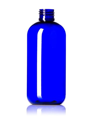 8 oz cobalt blue PET plastic boston round bottle with 24-410 neck finish