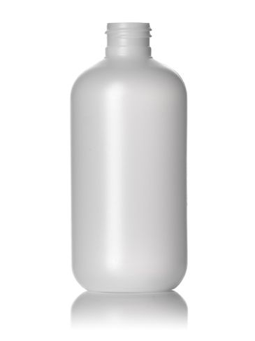 8 oz natural-colored HDPE plastic boston round bottle with 24-410 neck finish