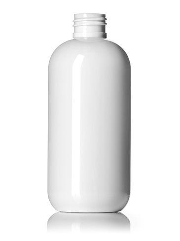 8 oz white PET plastic boston round bottle with 24-410 neck finish