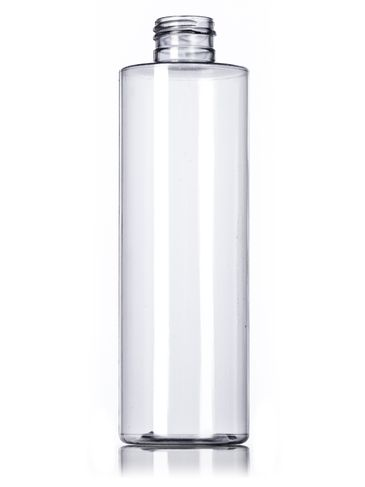 8 oz clear PVC plastic cylinder round bottle with 24-410 neck finish