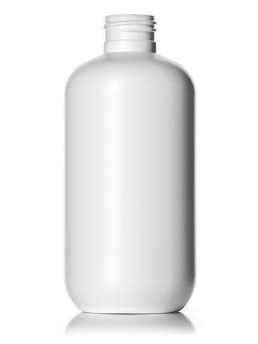 8 oz white HDPE plastic boston round bottle with 24-410 neck finish