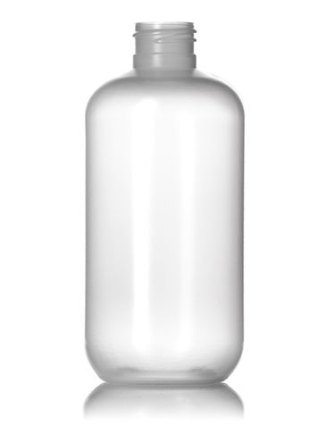 8 oz natural-colored LDPE plastic boston round bottle with 24-410 neck finish