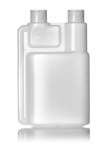 8 oz natural-colored HDPE plastic twin-neck bottle (requires 2 caps) with 24-410 neck finish