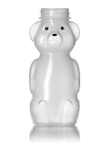 8 oz natural-colored LDPE plastic honey bear bottle (12 oz of honey) with 38-400 neck finish