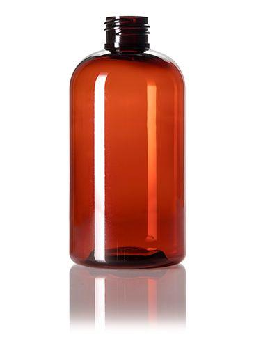 8 oz amber PET plastic squat boston round bottle with 24-410 neck finish