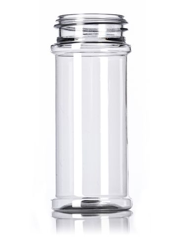 5.5 oz clear PET plastic spice bottle with 48-485 neck finish