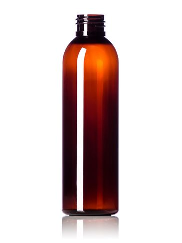 6 oz amber PET plastic cosmo round bottle with 24-410 neck finish