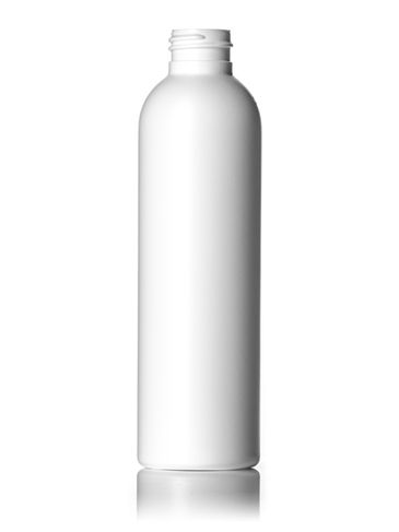 6 oz white HDPE plastic imperial round bottle with 24-410 neck finish