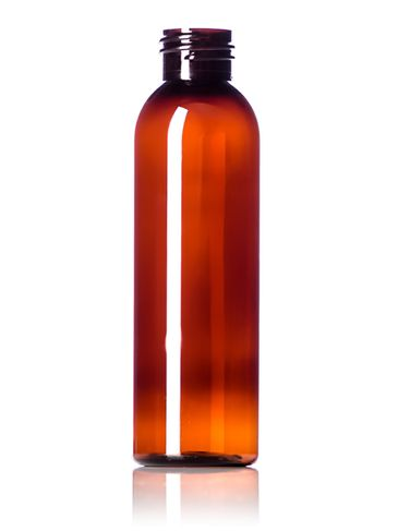 4 oz amber PET plastic cosmo round bottle with 24-410 neck finish