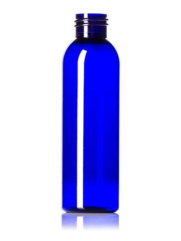 4 oz cobalt blue PET plastic cosmo round bottle with 24-410 neck finish