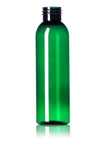 4 oz green PET plastic cosmo round bottle with 24-410 neck finish