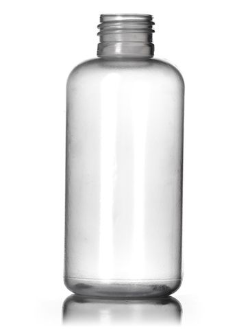 4 oz natural-colored LDPE plastic boston round bottle with 24-410 neck finish