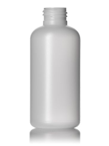 4 oz natural-colored HDPE plastic boston round bottle with 24-410 neck finish