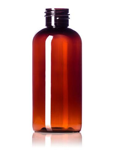 4 oz amber PET plastic boston round bottle with 24-410 neck finish