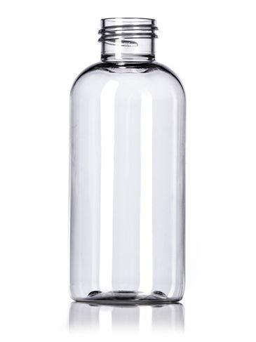 4 oz clear PET plastic boston round bottle with 24-410 neck finish