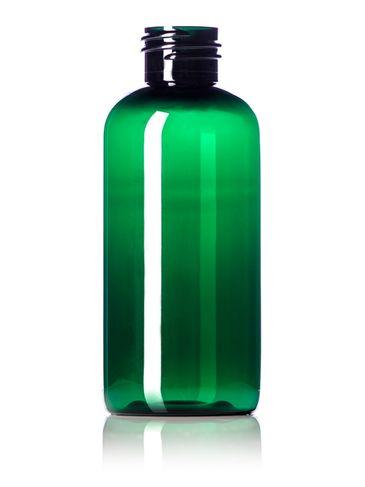 4 oz green PET plastic boston round bottle with 24-410 neck finish