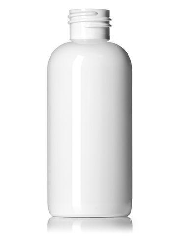 4 oz white PET plastic boston round bottle with 24-410 neck finish