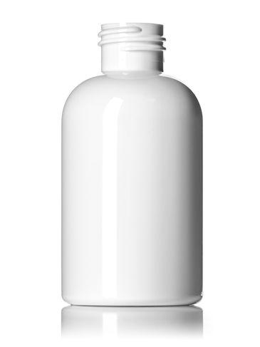 4 oz white PET plastic squat boston round bottle with 24-410 neck finish