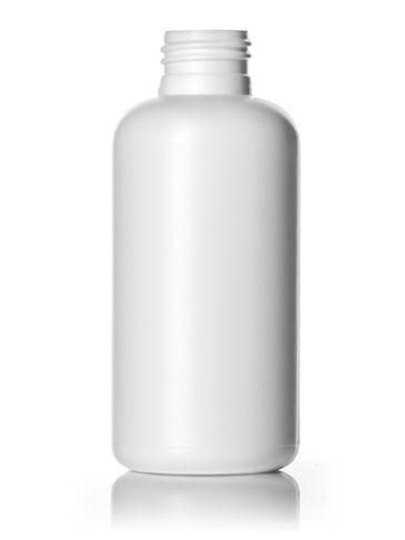 4 oz white HDPE plastic boston round bottle with 24-410 neck finish