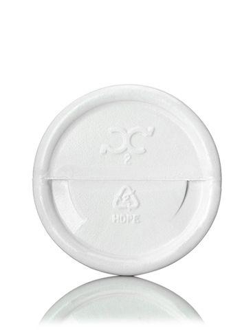 2 oz white HDPE plastic diamond round bottle with 20-410 neck finish