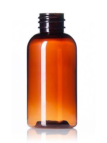 2 oz light amber PET plastic boston round bottle with 20-410 neck finish