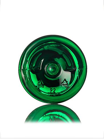 2 oz green PET plastic boston round bottle with 20-410 neck finish