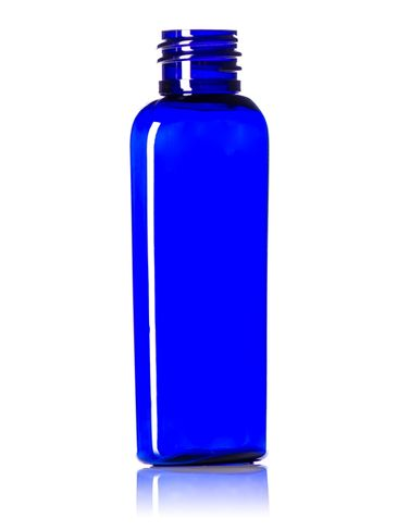 2 oz cobalt blue PET plastic cosmo oval bottle with 20-410 neck finish