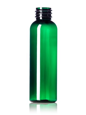 2 oz green PET plastic cosmo round bottle with 20-410 neck finish