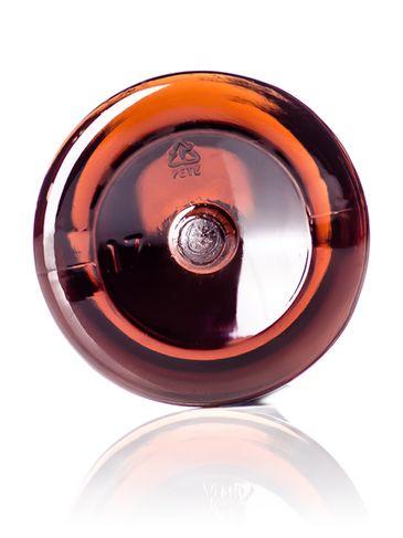 1 oz amber PET plastic modern round bottle with 20-410 neck finish