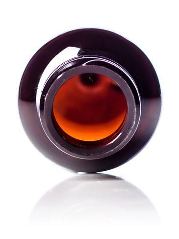 1 oz amber PET plastic boston round bottle with 20-410 neck finish