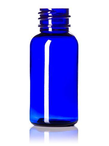 1 oz cobalt blue PET plastic boston round bottle with 20-410 neck finish
