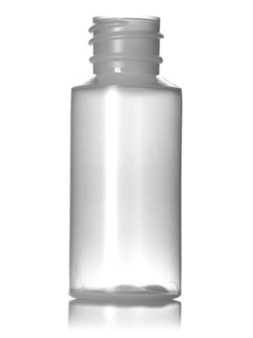 1 oz natural-colored LDPE plastic cylinder round bottle with 20-410DT neck finish