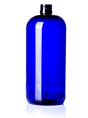 32 oz cobalt blue PET plastic boston round bottle with 28-410 neck finish